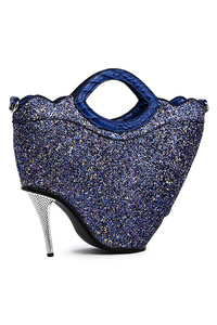 Glitter Fabric With High Hill Inspired Satchel Bag With Strap