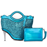 Glitter Fabric With High Hill Inspired Satchel Bag With Strap Set