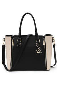 Two Tone Double Zipper Expandable Top Handle Satchel With Strap