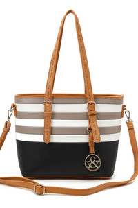 Restocked Multi Color Tone Stripe Accented Long Handle Tote Handbags With Strap