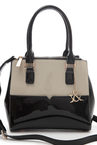 Two Tone Accented Top Handle Bag With Shoulder Strap
