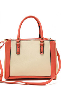 Two Tone Top Handle Satchel Bag With Strap