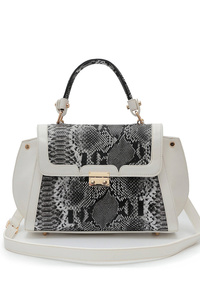 Solid And Snake Skin Accented Single Handle Satchel Bag