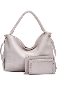 Solid Three In One Hobo Satchel Single Handle With Clutch And Wallet