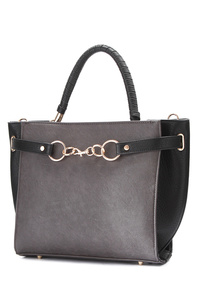Solid And Chain Clip On Top Handle Satchel Bag With Strap