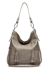Restocked Solid Front Two Tassels Hobo Bag With Shoulder Strap