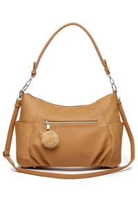 Solid Front Pockets And Side Pouches Hobo Bag With Shoulder Strap
