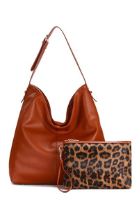 Two in One Solid Hobo Bag And Leopard Print Clutch