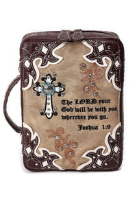 Restocked Bible Verse Cross Accented Bible Case
