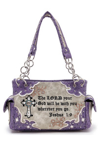 Western Cowgirl Faux Trimmed Bible Verse Cross Accented Satchel Bag