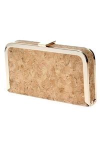 Metal Framed Clip On Cork Clutch With Chain Strap