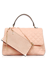 Solid Quilted Flap Over Satchel Bag With Laser Cut Wallet