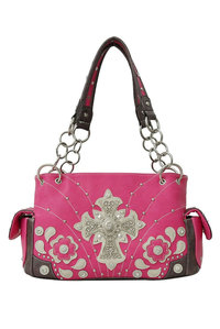 Western Style Cross Deco Studded Two Side Pocket Satchel Bag