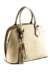 Solid Textured With Tassels Satchel Bag With Strap