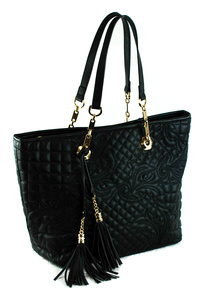 Solid Quilted And Stitched Tassels Double Tote Bag With Strap