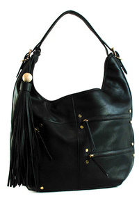 Three Zipper Pockets With Long Tassels Hobo Bag