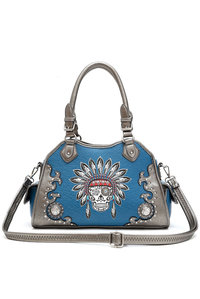 Western Cowgirl Indian Embroidery Deco Two Side Pocket Satchel Bag