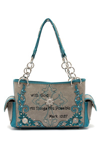 Restocked Western Cowgirl Bible Verse And Cross Satchel Bag With Wrist Strap
