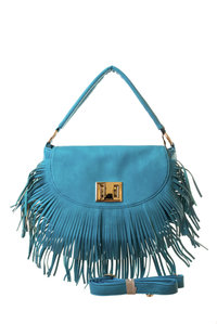 Premium Flap Over Fringe Twist Lock with Shoulder Strap Hobo Bag