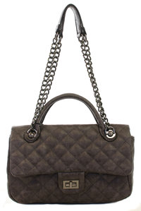 Quilted Turn Lock Closure Top Handle And Chain Strap Satchel Bag