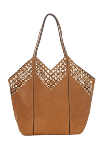 2 In 1 Studs Accented Top Handle Tote Bag With Separate Messenger