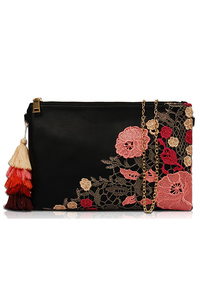 Flower Lace Trimmed With Tassels Clutch With Chain Strap