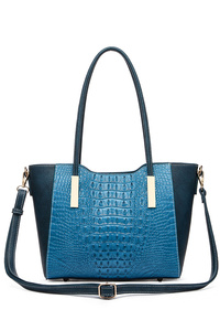 Solid Crocodile Double Slim Handles Satchel With Strap