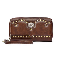 Western Cowgirl Studs Accented Zip Around Wallet