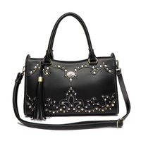 Western Cowgirl Studs Accented Satchel Bag With Shoulder Strap