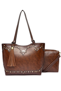 Western Cowgirl Studs Accented Two In One Tote Double Handle Bag