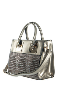 Crocodile And Metal Hardware Accented Top Handle Tote With Strap