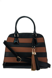 Stripe And Two Tone With Tassel Accented Top Handle Satchel Bag With Strap