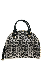 Leopard Print And Studs Accented Top Handle Satchel Bag With Strap