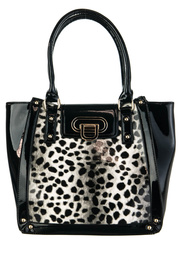 Shinny Leopard Print Accented Top Handle Tote Bag