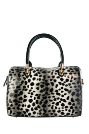 Shinny Leopard Print Accented Top Handle Satchel Bag With Strap