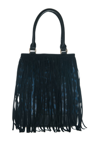 Leopard Print And Long Fringe Front Accented Tote Top Handle Bag