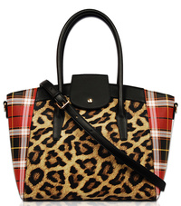 Check And Leopard Print Flap Over Satchel Bag With Strap