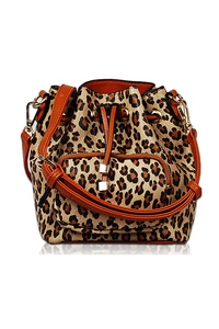 Leopard Print Drawstring Bucket Style Bag With Strap