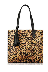 Leopard Print Tote With Tassels With Double Handle