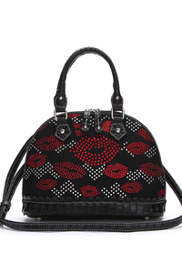 All Over Lips Stoned Structure Satchel Bag With Strap