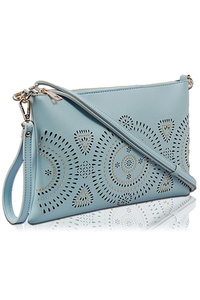 Solid Laser Cut And Studs Clutch With Shoulder And Wrist Strap