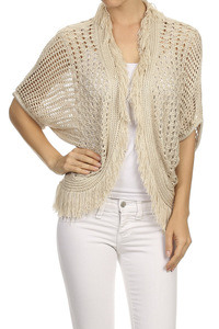 Knitted, draped neckline, 3/4 length dolman sleeve, open front cardigan with fri