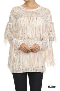 Peppered, round neckline, long sleeve, sweater with fringe detailing