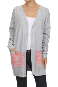 Knitted, draped neckline, long sleeve, open front cardigan with pockets and bord