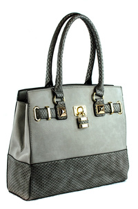 Snake And Solid Combined Key Centered Tote Bag With Strap
