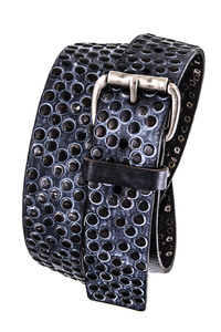 Faded Metallic Studs Accented Genuine Leather Belt