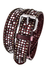 Multiple Colors Metallic Studs Accented Genuine Leather Belt