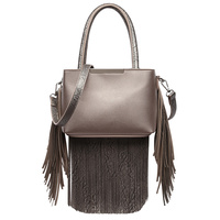 Solid All Over Fringe Satchel Bag With Shoulder Strap