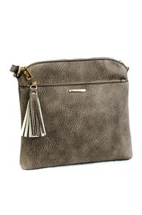 Solid Front Zipper And Tassel Messenger Bag With Strap