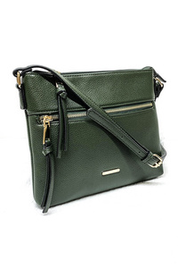 Solid Front Pocket Messenger Bag With Shoulder Strap